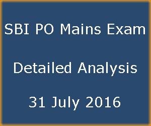 SBI PO Mains Exam Detailed Analysis – 31 July 2016