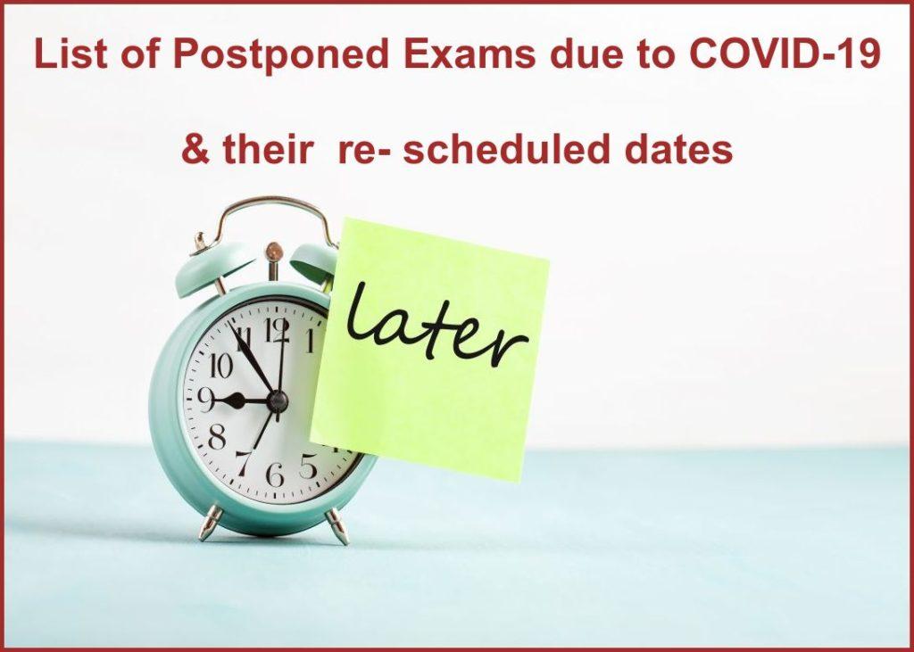 postponed exam list & dates